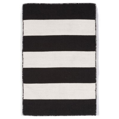 Buske Hand-Woven Black/White Indoor/Outdoor Area Rug Rug Size: 83 x 116