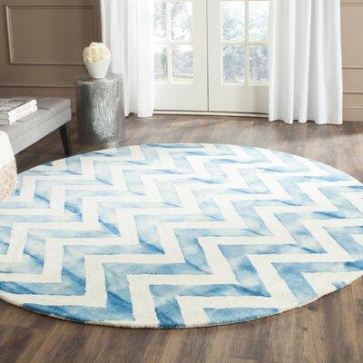 Crux Ivory/Turquoise Area Rug Rug Size: Round 7