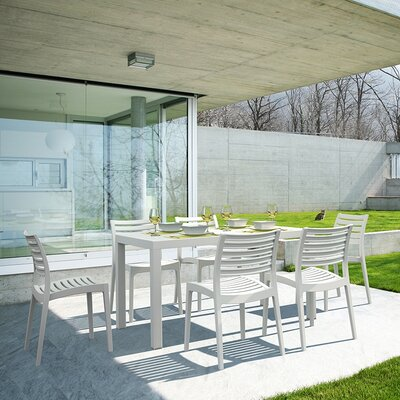 Melissus Outdoor 7 Piece Dining Set Finish: White