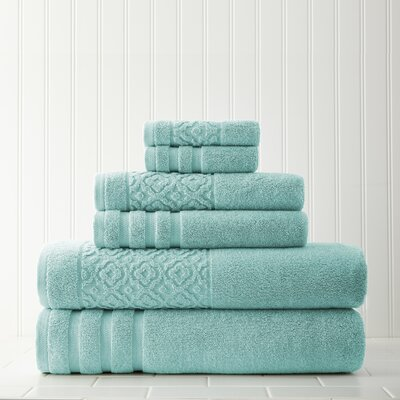 Geometric 6 Piece Towel Set Color: Aqua