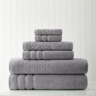 Geometric 6 Piece Towel Set Color: Gray