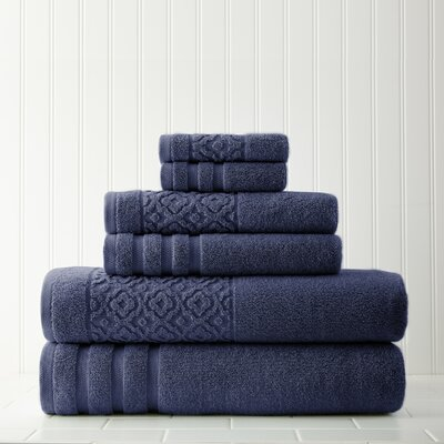 Geometric 6 Piece Towel Set Color: Indigo