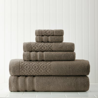 Geometric 6 Piece Towel Set Color: Mocha
