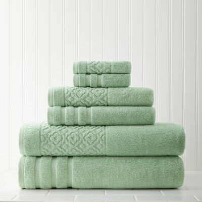 Geometric 6 Piece Towel Set Color: Sage