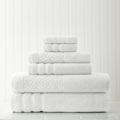 Geometric 6 Piece Towel Set Color: White