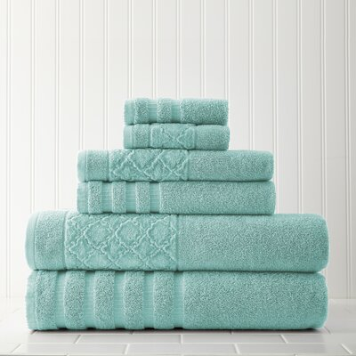 Solid 6 Piece Towel Set Color: Aqua
