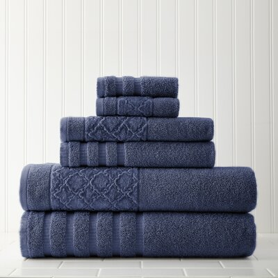 Solid 6 Piece Towel Set Color: Indigo