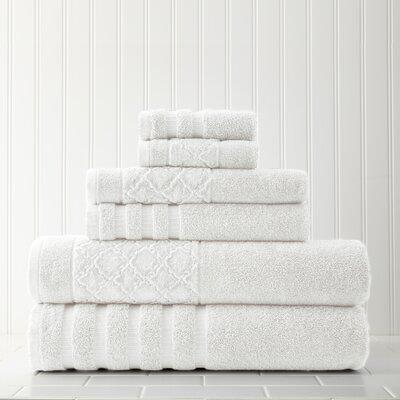 Solid 6 Piece Towel Set Color: White