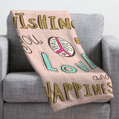 Spence Peace Love and Happiness Fleece Polyester Throw Blanket Size: 60 L x 50 W