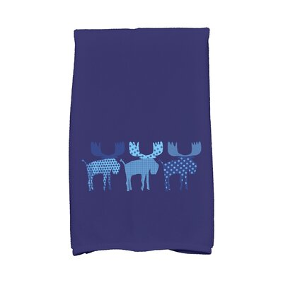 Merry Moose Hand Towel Color: Blue