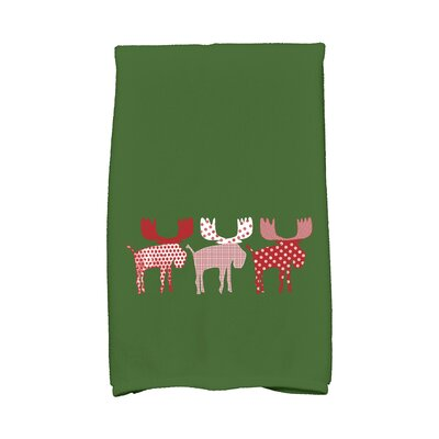 Merry Moose Hand Towel Color: Green