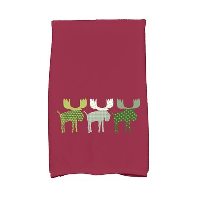 Merry Moose Hand Towel Color: Cranberry