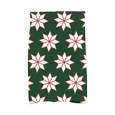 Christmas Stars Vibrant Hand Towel Color: Green/White/Red