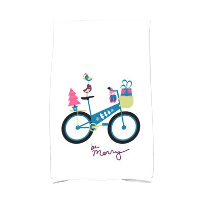 Coastal Christmas Merry Bird Bike Hand Towel Color: Teal