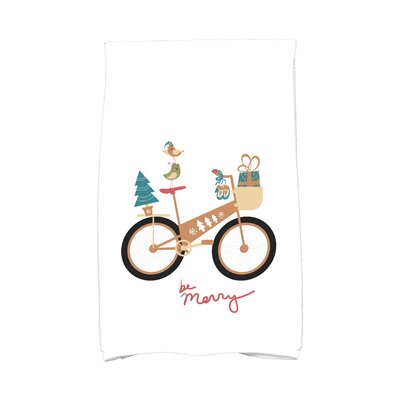 Coastal Christmas Merry Bird Bike Hand Towel Color: Gold