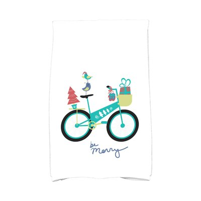 Coastal Christmas Merry Bird Bike Hand Towel Color: Aqua