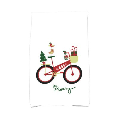 Coastal Christmas Merry Bird Bike Hand Towel Color: Red