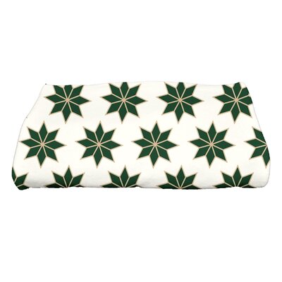 Christmas Stars Bath Towel Color: White/Green/Gold