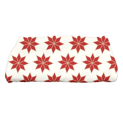 Christmas Stars Bath Towel Color: White/Red/Gold