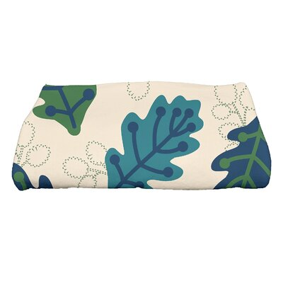 Avalos Retro Leaves Floral Print Bath Towel Color: Blue