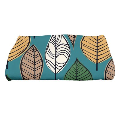 Morano Autumn Leaves Floral Print Bath Towel Color: Teal