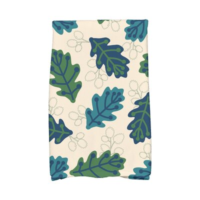 Avalos Retro Leaves Floral Print Hand Towel Color: Blue