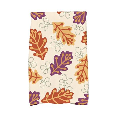 Avalos Retro Leaves Floral Print Hand Towel Color: Purple