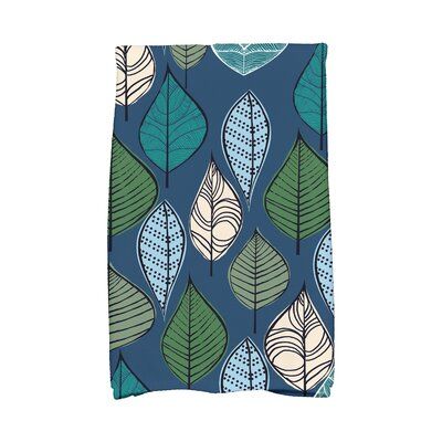Avalos Autumn Leaves Floral Print Hand Towel Color: Blue