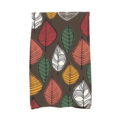 Morano Autumn Leaves Floral Print Hand Towel Color: Brown