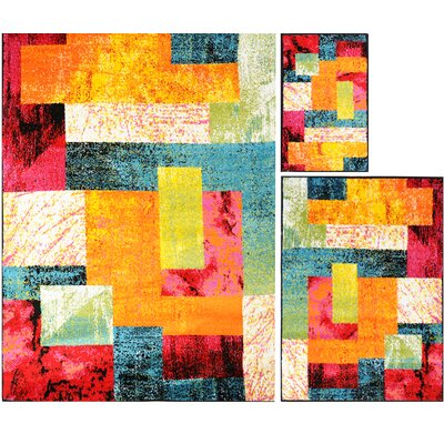 Delorenzo Patchwork 3 Piece Rug Set