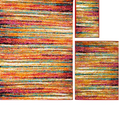 Delorenzo Brushstrokes 3 Piece Rug Set