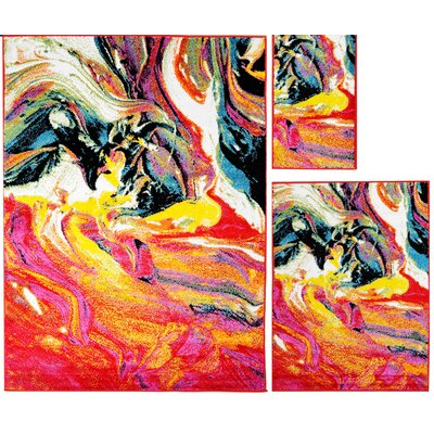 Carrasco Abstract Brushstrokes 3 Piece Rug Set