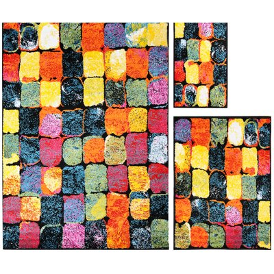 Delorenzo Tile 3 Piece Rug Set