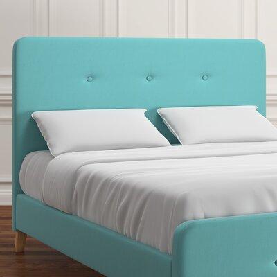 Delray Linen Panel Headboard Upholstery: Cyan, Size: Queen