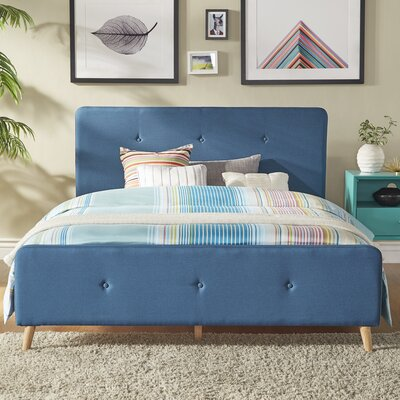 Delray Upholstered Panel Bed Color: Blue, Size: King