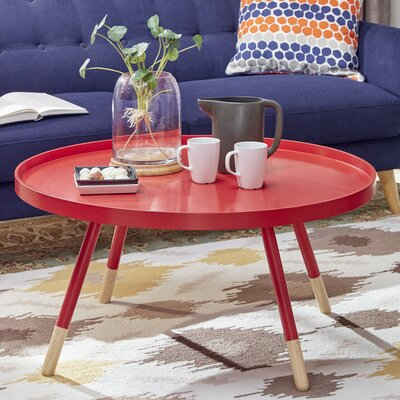 Acevedo Coffee Table with Tray Top Color: Samba Red