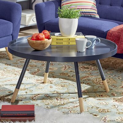 Acevedo Coffee Table with Tray Top Color: Navy Black