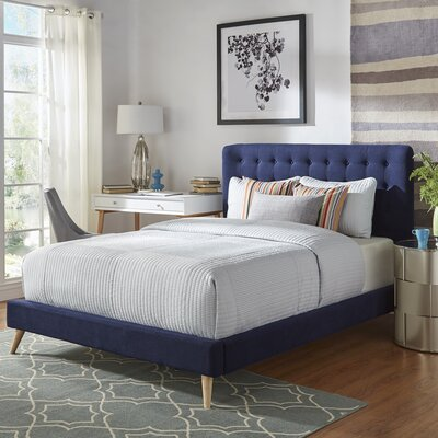 Blakeman Upholstered Panel Bed Color: Twilight Blue, Size: Queen