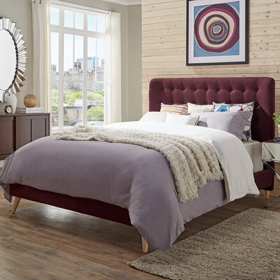 Blakeman Upholstered Panel Bed Color: Tawny Port, Size: Queen