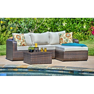 Amezcua 3 Piece Deep Seating Group with Cushion Finish: Espresso Brown