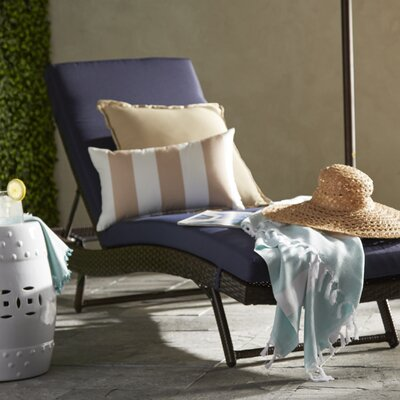Rebecca Patio Lounger with Cushion Fabric: Navy