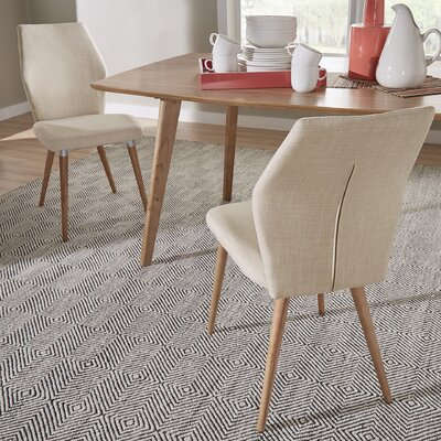 Bloch Parsons Chair Upholstery: Beige, Finish: Light Oak