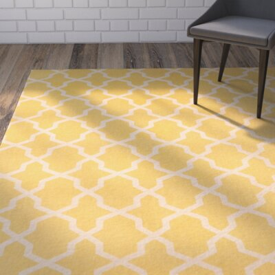 Miranda Hand-Loomed Yellow/Ivory Area Rug Rug Size: Rectangle 5 x 8