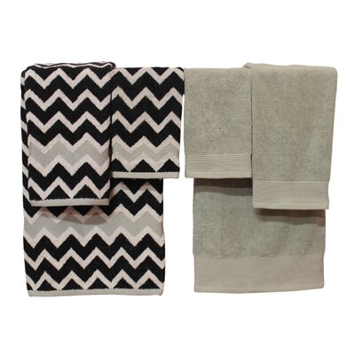 Nebula 6 Piece Towel Set Color: Black / Gray
