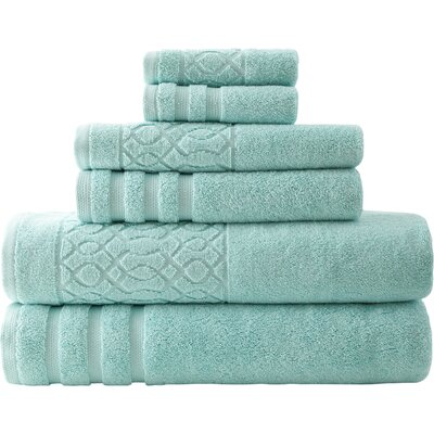 6 Piece Towel Set Color: Aqua