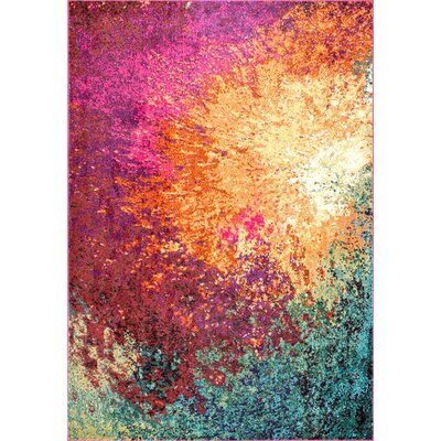 Dayville Red/Gold Area Rug Rug Size: 53 x 77
