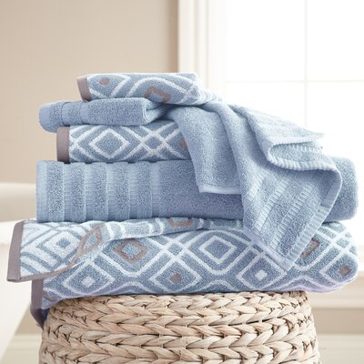 Adult 6 Piece Cotton Towel Set Color: Blue