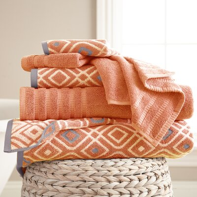 Adult 6 Piece Cotton Towel Set Color: Coral