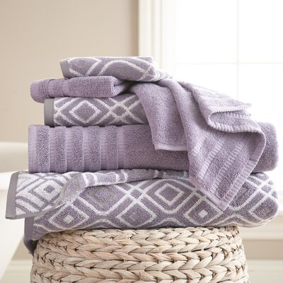 Adult 6 Piece Cotton Towel Set Color: Gray Lavender