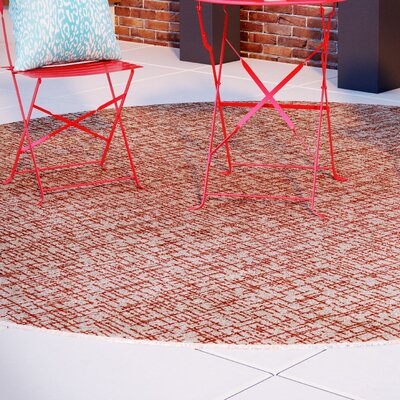 Beige Woven Indoor/Outdoor Area Rug Rug Size: Round 4
